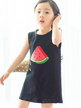 Ericdress Cartoon Print Sleeveless Girls Dress