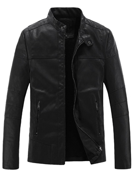 Ericdress Thicken Warm Zip Black PU Men's Jacket