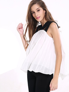 Ericdress Color Block Loose Pleated Vest