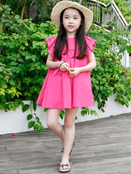 Ericdress Short Sleeve Solid Color Hollow Girls Dress