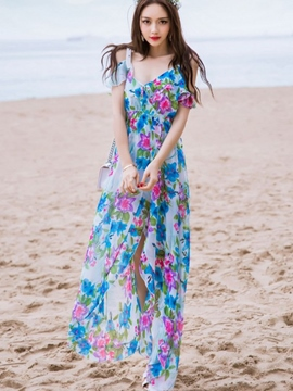 Ericdress Summer Beach Spaghetti Strap Print Maxi Dress