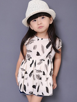 Ericdress Print Lace-Up Short Sleeve Girls Dress