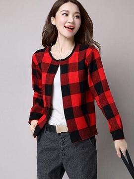 Ericdress Loose Plaid Wrapped Jacket