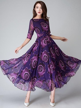 Ericdress Flower Print Half Sleeve Expansion Round Neck Maxi Dress