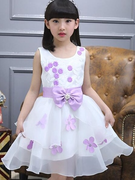 Ericdress Appliques Bow Tie Falbala Print Patchwork Girls Dresses