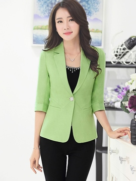 Ericdress Plain One-Button Slim Blazer