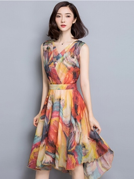 Ericdress Summer A-Line V-Neck Sleeveless Print Casual Dress
