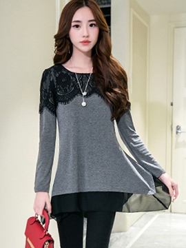 Ericdress Lace Overlay Double Layer Hem T-Shirt