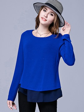 Ericdress Plus Size Blue Double Layer Knitwear