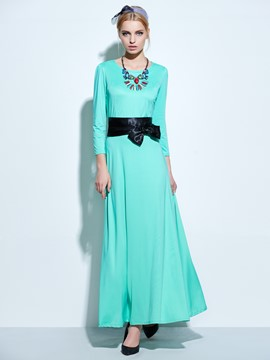 Ericdress Round Neck Lace-Up Maxi Dress