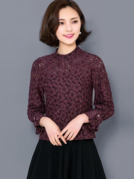 Ericdress Floral Crochet Lace Blouse