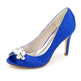 Ericdress Satin Crystal Peep Toe Wedding Shoes