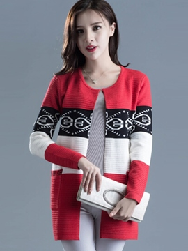Ericdress Color Block Geometric Wrapped Knitwear