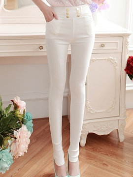 Ericdress Elegant Button Decoration Leggings Pants