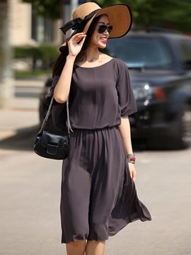 Ericdress Solid Color Half Sleeve Casual Dress