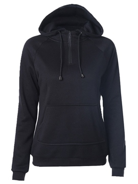 Ericdress Solid Color Zipper Hoodie