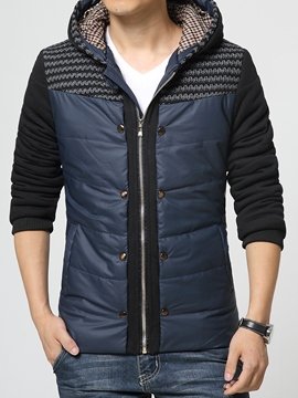 Ericdress Hood Patchwork Thicken Warm Men's Winter Coat