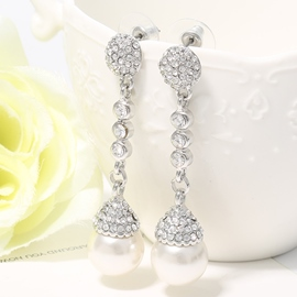 Ericdress White Pearl Pendant Earrings