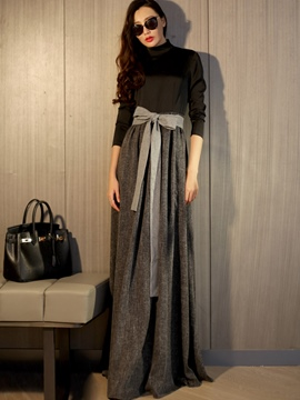 Ericdress Autumn Long Sleeve Patchwork Maxi Dress