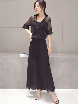 Ericdress Fashion Wide Legs Pants Suit