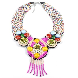Ericdress Ethnic Style Beads Woven Necklace