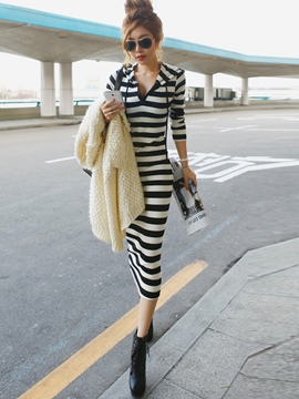 Ericdress Stripe Hooded Korean Style Sheath Dress