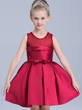 Ericdress Pleated Sleeveless Plain Girls Dress
