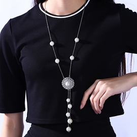 Ericdress Pearls Tassel Necklace