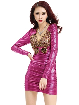 Ericdress Patchwork Sequins Patent Leather Sexy Fashion Clubwear