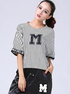 Ericdress Stripe Loose Crop T-Shirt