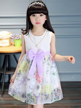Ericdress Necklace Bow Belt-Tied Floral Mesh Girls Dresses