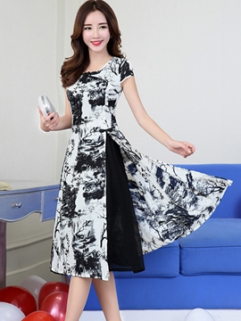 Ericdress Summer Short Sleeve Print Split Casual Dress