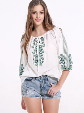 Ericdress Floral Embroidery Lace-Up Blouse