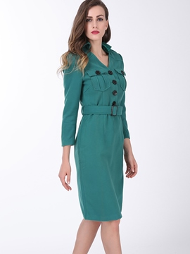 Ericdress Plain Lapel Buttons Bodycon Dress