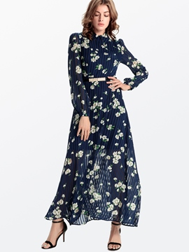 Ericdress Floral Print Long Sleeve Maxi Dress