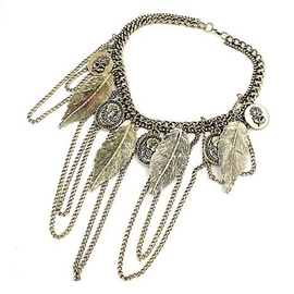 Ericdress Retro Leaves Tassel Necklace