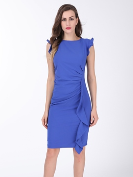 Ericdress Solid Color Falbala Pleated Bodycon Dress