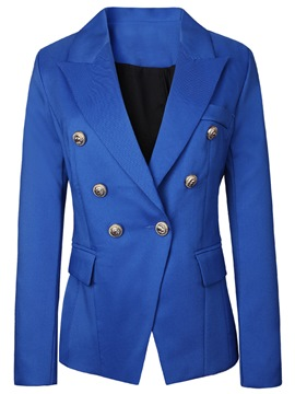Ericdress Solid Color Double-Breasted Blazer