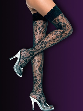Ericdress Black Jacquard Sexy Stockings