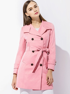 Ericdress Solid Color Lace-Up Trench Coat