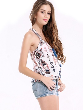 Ericdress Loose Printed Strapped Vest