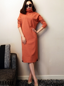Ericdress Autumn Soild Color Turtleneck Casual Dress