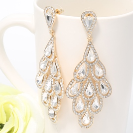 Ericdress Phoenix Tail Diamante Earrings