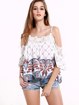 Ericdress Printed Cold Shoulder Pleated Blouse