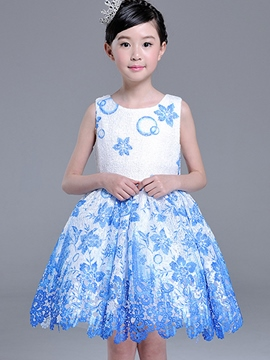 Ericdress Lace Floral Ball Gown Girls Dress