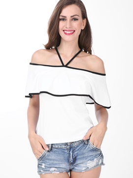 Ericdress Slim Color Block Strap Blouse