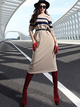Ericdress Color Block Knitted Long Sleeve Casual Dress