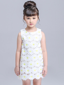 Ericdress Floral Sleeveless Round Neck Girls Dress