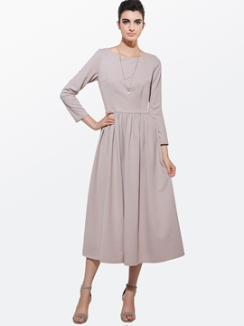 Ericdress Autumn Soild Color Long Sleeve Round Neck Maxi Dress