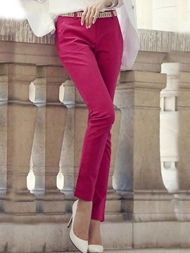 Ericdress Solid Color Straight Casual Pants